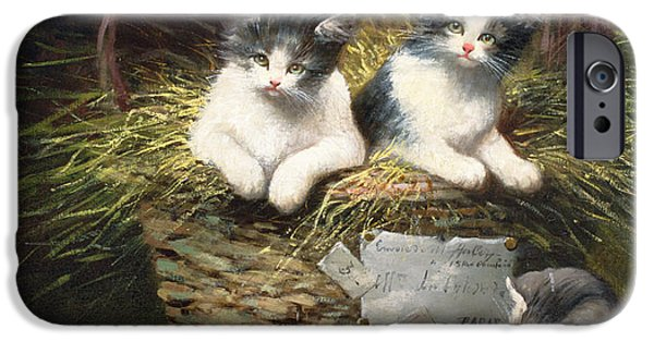 Cat Prints iPhone Cases - Playtime iPhone Case by Leon Charles Huber