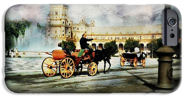 Horse And Buggy iPhone Cases - Plaza de Espana Square iPhone Case by Diana Angstadt