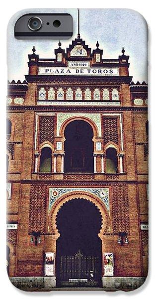 Culture Pyrography iPhone Cases - Plaza de Toros de Las Ventas iPhone Case by Miryam  UrZa