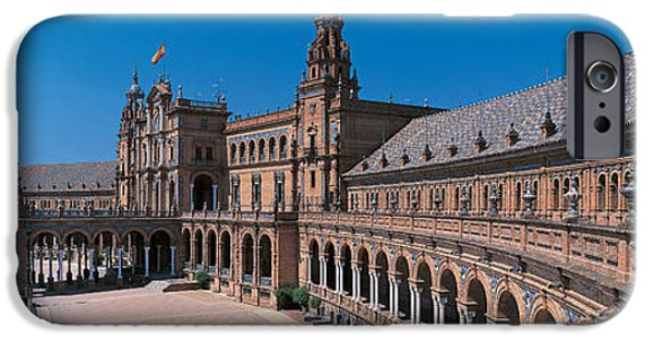Mosaic iPhone Cases - Plaza Espana Seville Andalucia Spain iPhone Case by Panoramic Images