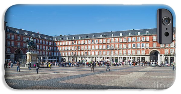 Equestrian Center iPhone Cases - Plaza Mayor in Madrid in Spain in spring iPhone Case by Jan Marijs