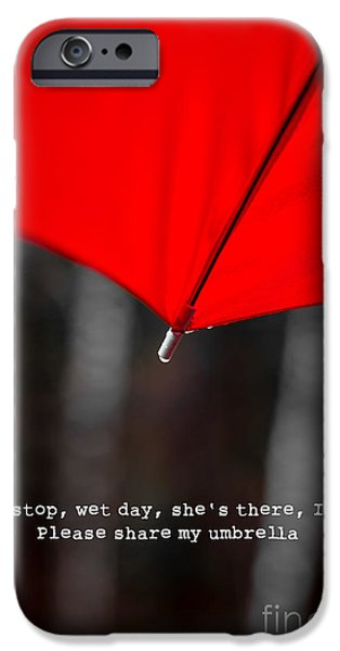 Red Umbrella iPhone Cases - Please share my umbrella iPhone Case by Edward Fielding