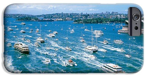 Pleasure iPhone Cases - Pleasure Boats, Sydney Harbor, Australia iPhone Case by Panoramic Images