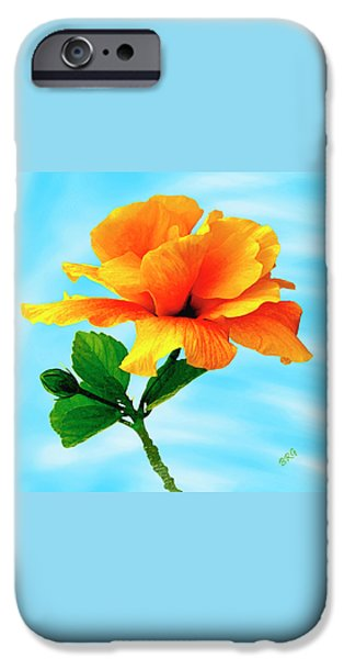 Pleasure iPhone Cases - Pleasure - Yellow Double Hibiscus iPhone Case by Ben and Raisa Gertsberg