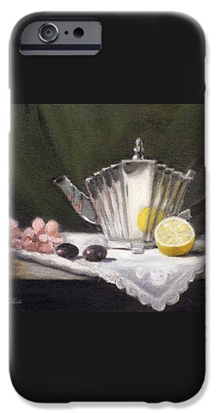 Pleated Teapot with Lemon iPhone Case by Sarah Parks