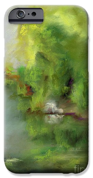 Reflection Pastels iPhone Cases - Plein Air At Golden Ponds iPhone Case by Frances Marino