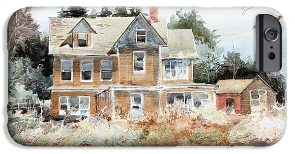 Old Maine Houses iPhone Cases - Plein Air At Southport iPhone Case by Monte Toon