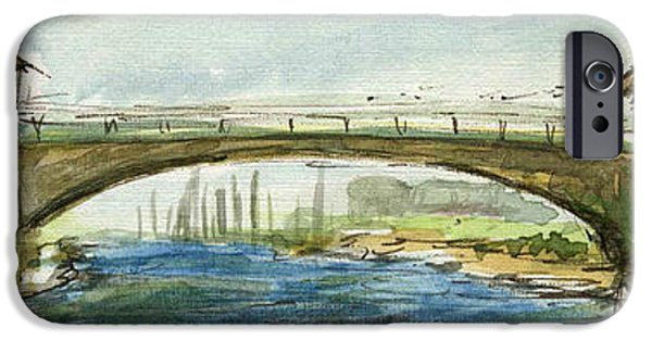 Abstract Seascape iPhone Cases - Plein Air Sketchbook. Oxnard California 2011. New Bridge near Wooley Road.  iPhone Case by Cathy Peterson