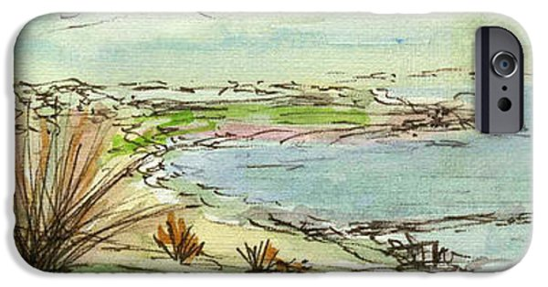 Chicago Paintings iPhone Cases - Plein Air Sketchbook. Ventura California 2011. Overlooking Pierpont Bay the Pier from Grant Park iPhone Case by Cathy Peterson