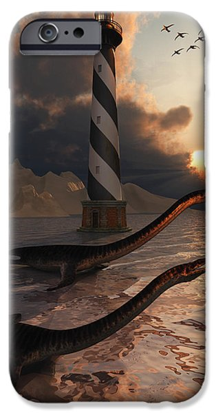Sea Birds iPhone Cases - Plesiosaurus Bay.1. iPhone Case by Mark Stevenson