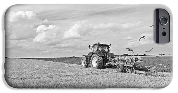 Flying Seagull iPhone Cases - Ploughing After The Harvest in Black and White iPhone Case by Gill Billington