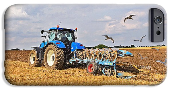 Flying Seagull iPhone Cases - Ploughing After The Harvest - Square iPhone Case by Gill Billington