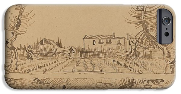 Farmer Drawings iPhone Cases - Ploughman in the Fields near Arles iPhone Case by Vincent van Gogh