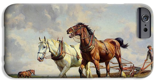 Wright Barker iPhone Cases - Plowing The Field iPhone Case by Wright Barker