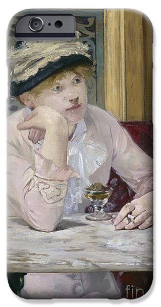 Canvas Wine Prints iPhone Cases - Plum Brandy iPhone Case by Edouard Manet