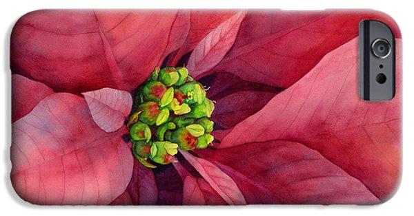 Macro Paintings iPhone Cases - Plum Poinsettia iPhone Case by Hailey E Herrera