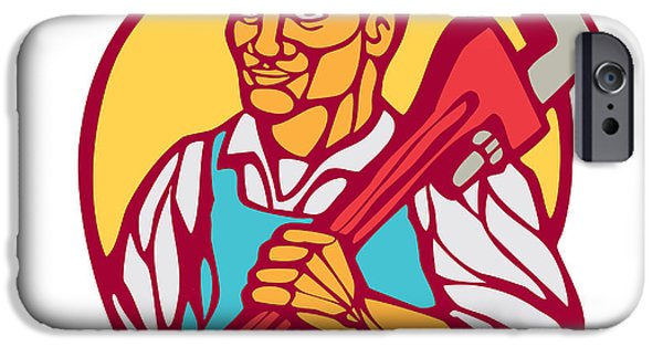 Block Print iPhone Cases - Plumber Carry Wrench Circle Woodcut Linocut iPhone Case by Aloysius Patrimonio