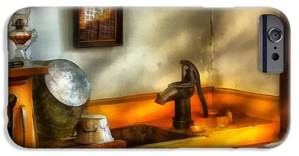 Hurricane Lamp iPhone Cases - Plumber - The Wash Basin iPhone Case by Mike Savad
