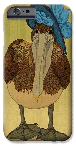 Pelicans iPhone Cases - Plumpskin Ploshkin Pelican Jill iPhone Case by Meg Shearer