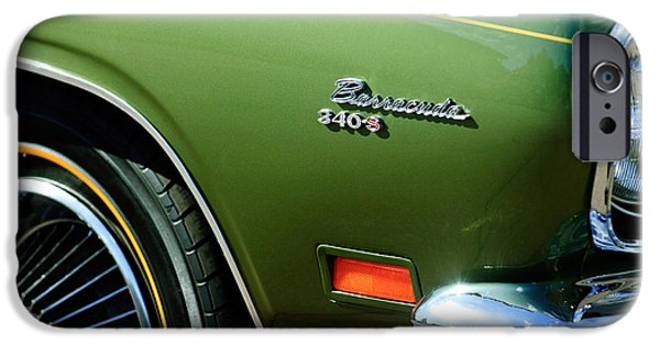 Plymouth iPhone Cases - Plymouth Barracuda 340-S Emblem iPhone Case by Jill Reger
