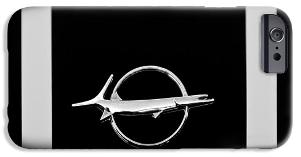 Plymouth iPhone Cases - Plymouth Barracuda Emblem -0054bw iPhone Case by Jill Reger