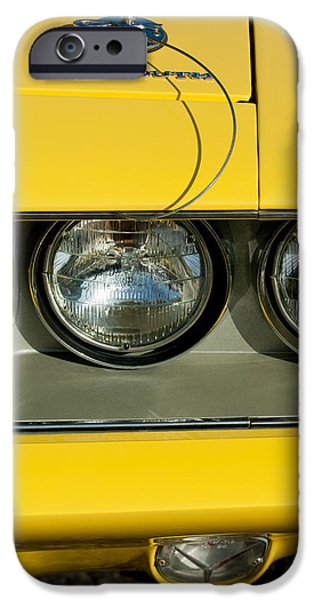 Hemi iPhone Cases - Plymouth Barracuda - Hemi Cuda - Head Lights Emblem iPhone Case by Jill Reger