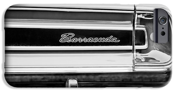 Plymouth iPhone Cases - Plymouth Barracuda Taillight Emblem -0711bw iPhone Case by Jill Reger