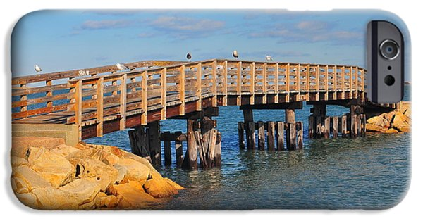 Catherine White Photographs iPhone Cases - Plymouth Harbor Breakwater iPhone Case by Catherine Reusch  Daley