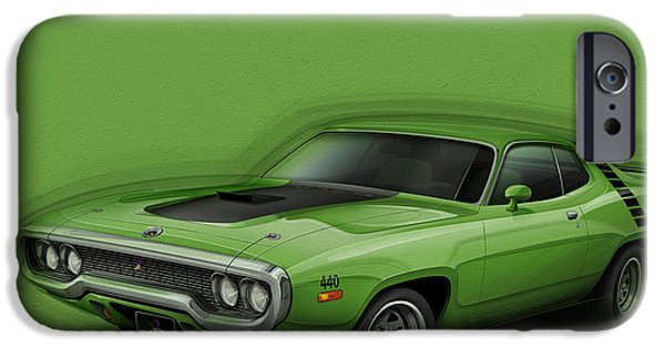 Bad Ass iPhone Cases - Plymouth Roadrunner 1972 iPhone Case by Etienne Carignan