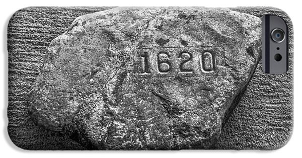 Plymouth iPhone Cases - Plymouth Rock in Black and White iPhone Case by Diane Diederich