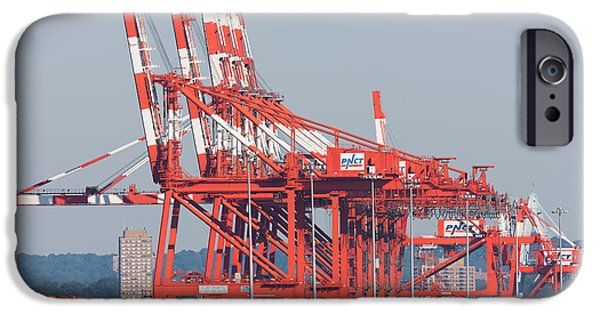 Enterprise Photographs iPhone Cases - PNCT Facility in Port Newark-Elizabeth Marine Terminal I iPhone Case by Clarence Holmes