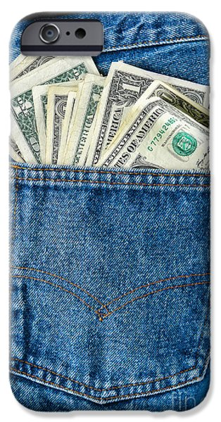 Money iPhone Cases - Pocket of Dollar iPhone Case by Olivier Le Queinec
