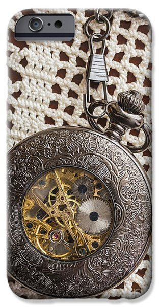 Gear iPhone Cases - Pocket Watch over Lace iPhone Case by Edward Fielding