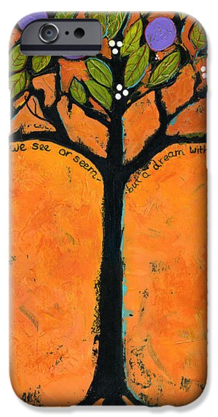 Tangerines Paintings iPhone Cases - Poe Tree Art iPhone Case by Blenda Studio