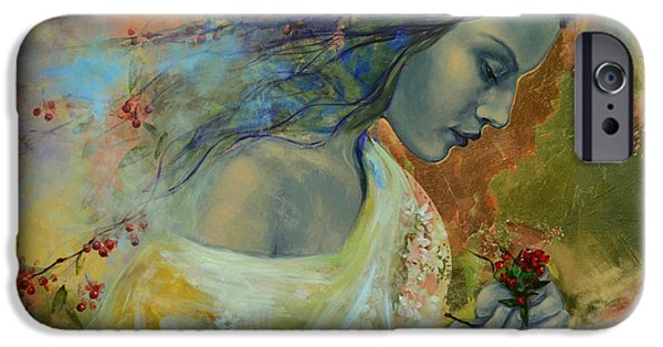 Dream Paintings iPhone Cases - Poem at Twilight iPhone Case by Dorina  Costras