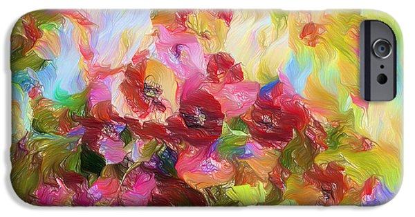 Poetic Mixed Media iPhone Cases - Poetic Poppies Expressionism iPhone Case by Georgiana Romanovna