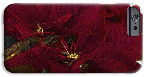 Star Of Bethlehem iPhone Cases - Poinsettia 3 Digital Painting on Canvas 2 iPhone Case by Sharon  Talson