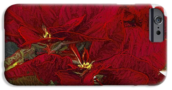 Star Of Bethlehem iPhone Cases - Poinsettia 3 Digital Painting on Canvas 2A iPhone Case by Sharon  Talson