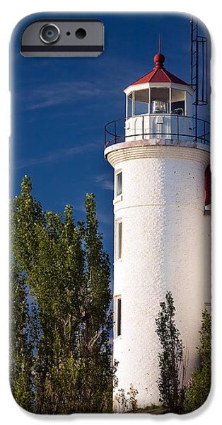 Lighthouse iPhone Cases - Point Betsie Lighthouse Michigan iPhone Case by Adam Romanowicz