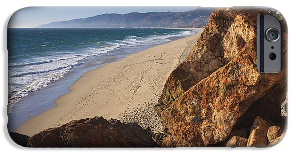 Coastal Places iPhone Cases - Point Dume Overlooking Zuma Beach iPhone Case by Adam Romanowicz