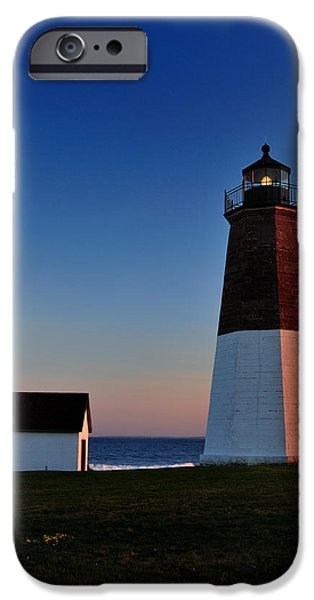 New England Lighthouse Photographs iPhone Cases - Point Judith- Sidelit at Sunset iPhone Case by Thomas Schoeller
