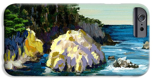 Point Lobos State iPhone Cases - Point Lobos Rock iPhone Case by Alice Leggett