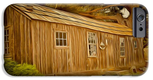 Historic Site Paintings iPhone Cases - Point Lobos Whalers Cabin iPhone Case by Barbara Snyder