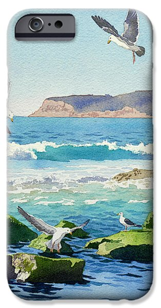 Waves Paintings iPhone Cases - Point Loma Rocks Waves and Seagulls iPhone Case by Mary Helmreich