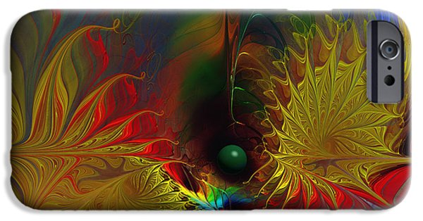 Abstract Expressionism Digital iPhone Cases - Point of No Return-Abstract Fractal Art iPhone Case by Karin Kuhlmann