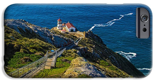 Lighthouse Pyrography iPhone Cases - Point Reyes Lighthouse iPhone Case by Paul Gillham
