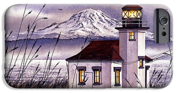 Lighthouse Paintings iPhone Cases - Point Robinson Lighthouse iPhone Case by James Williamson