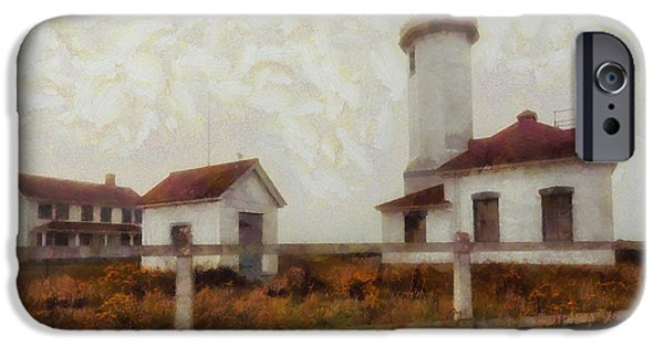 Buildings Mixed Media iPhone Cases - Point Wilson Lighthouse iPhone Case by Mark Kiver