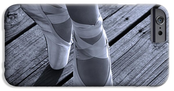 Dance Studio iPhone Cases - Pointe Shoes Bw iPhone Case by Laura  Fasulo
