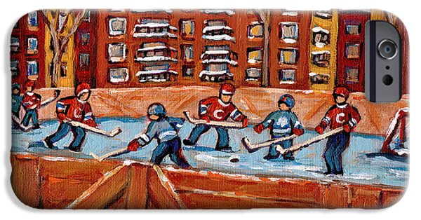 Hockey Paintings iPhone Cases - Pointe St. Charles Hockey Rink Southwest Montreal Winter City Scenes Paintings iPhone Case by Carole Spandau